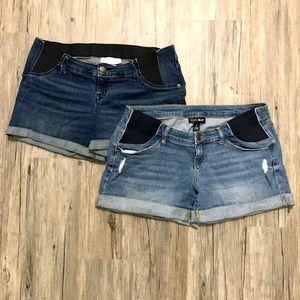 Maternity Denim Distressed Shorts